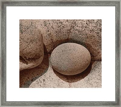 Round Stone On Rock Framed Print by Elspeth Ross