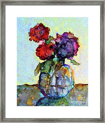 Round Table With Flowers Framed Print by Priti Lathia