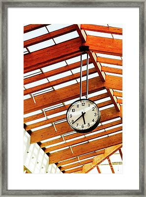 Round-the-clock On Weight And Wooden Ceiling Texture Framed Print by Nataliya Pylayeva