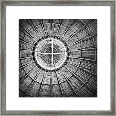 Roundhouse Architecture - Black And White Framed Print