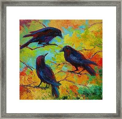 Roundtable Discussion - Crows Framed Print by Marion Rose