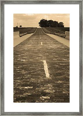 Framed Print featuring the photograph Route 66 - Brick Highway 2 Sepia by Frank Romeo