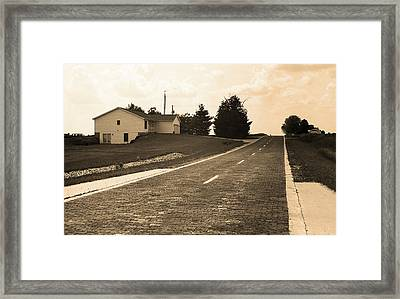 Framed Print featuring the photograph Route 66 - Brick Highway Sepia by Frank Romeo