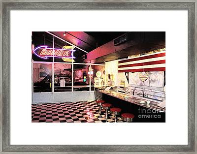 Route 66 Diner Framed Print by Mel Steinhauer