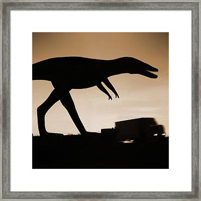 Route 66 - Lost Dinosaur  Framed Print by Mike McGlothlen