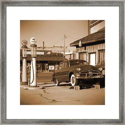 Route 66 - Old Service Station Framed Print by Mike McGlothlen