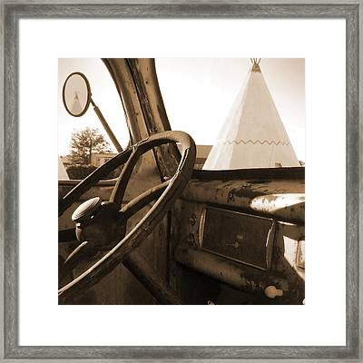 Route 66 - Parking At The Wigwam Framed Print by Mike McGlothlen