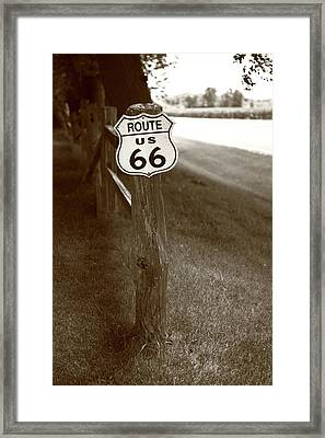 Framed Print featuring the photograph Route 66 Shield And Fence Sepia Post by Frank Romeo