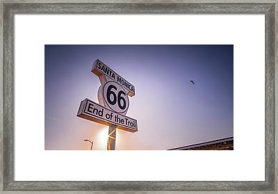Route 66 Sign - Santa Monica, Los Angeles - Travel Photography Framed Print by Giuseppe Milo
