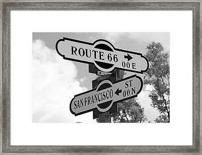 Route 66 Street Sign Black And White Framed Print