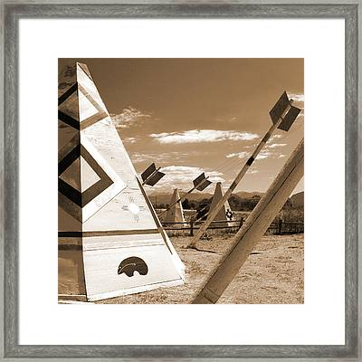 Route 66 - Wig Wam With Large Arrows Framed Print by Mike McGlothlen