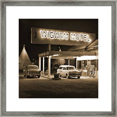 Route 66 - Wigwam Motel Framed Print by Mike McGlothlen