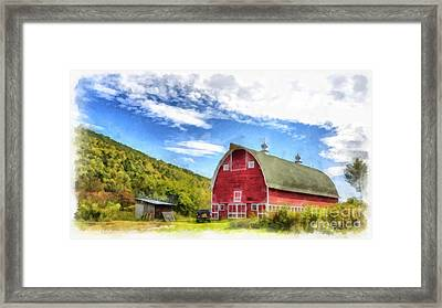 Route Vermont Red Barn Framed Print
