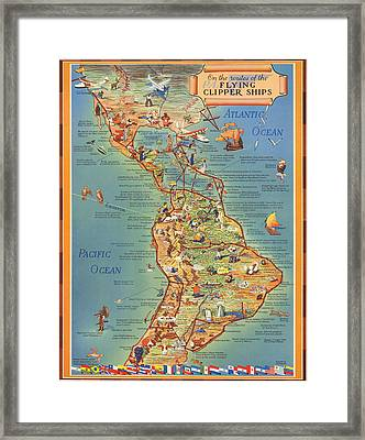 Routes Of The Flying Clipper Ships - Pan American Airways - Vintage Pictorial Map Framed Print