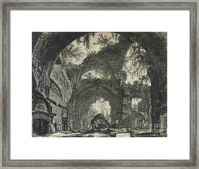 Rovine D'una Galleria Di Statue Nella Villa Adriana A Tivoli  Framed Print