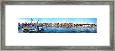 Rovinj Harbor And Boats Panorama Framed Print