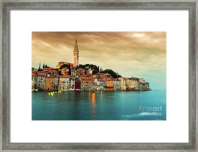 Rovinj Old Town At Night In Adriatic Sea Framed Print