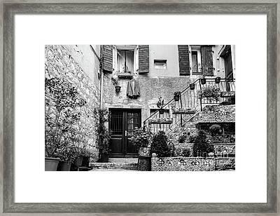 Rovinj Old Town Courtyard In Black And White, Rovinj Croatia Framed Print