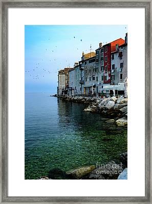 Rovinj Venetian Buildings And Adriatic Sea, Istria, Croatia Framed Print
