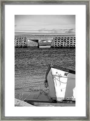 Row Boat And Cribstone Bridge Framed Print by Olivier Le Queinec