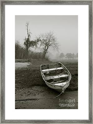 Row Boat And Low Tide Framed Print