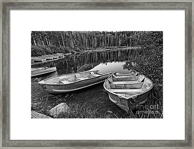 Row Boat Lake Framed Print by Jamie Pham
