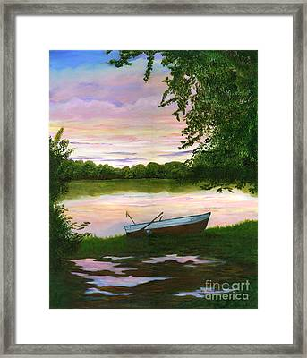 Row Boat Painting Framed Print by Judy Filarecki