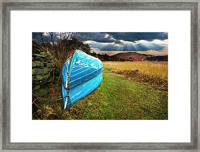 Row Boats In Waiting Framed Print by Meirion Matthias