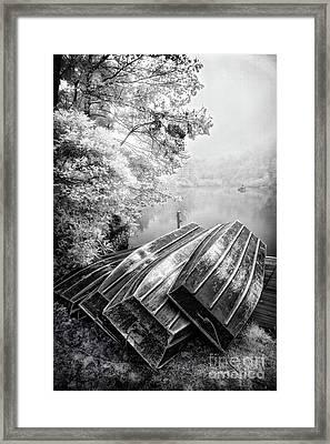Row Boats On Blue Ridge Parkway Price Lake Bw Framed Print by Dan Carmichael