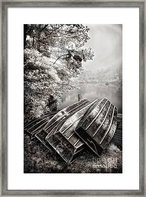 Row Boats On Blue Ridge Parkway Price Lake Bw Fx Framed Print by Dan Carmichael
