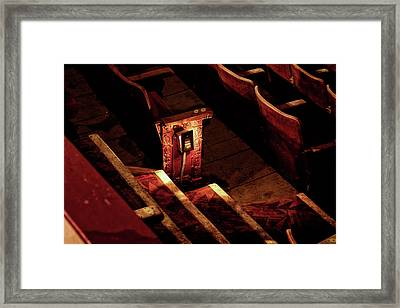 Row D, Seat 15 Framed Print by John Hoey
