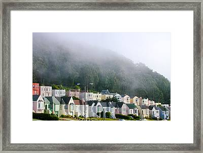Row Houses In Fog Framed Print