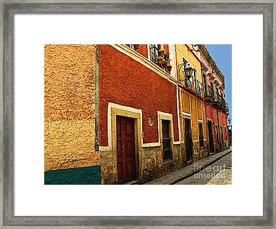 Row Of Casas Guanajuato Framed Print by Mexicolors Art Photography