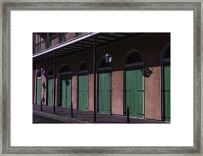 Row Of Green Doors Framed Print by Garry Gay