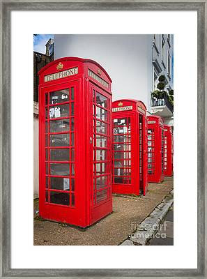 Row Of Phone Booths Framed Print by Inge Johnsson