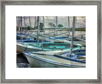 Row Of Sailboats - Charles River - Boston Framed Print