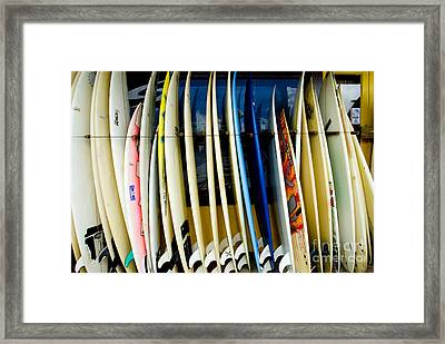 Row Of Surfboards Framed Print by Ray Laskowitz - Printscapes