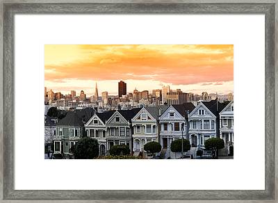 Row Of Victorian Houses In A City Framed Print by Panoramic Images