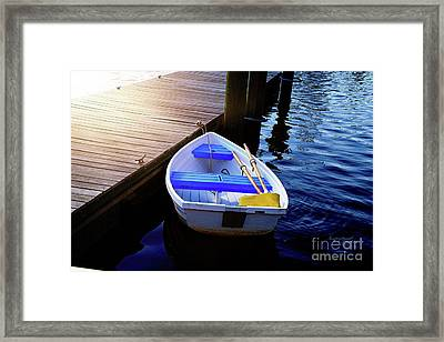 Rowboat At Sunset Framed Print