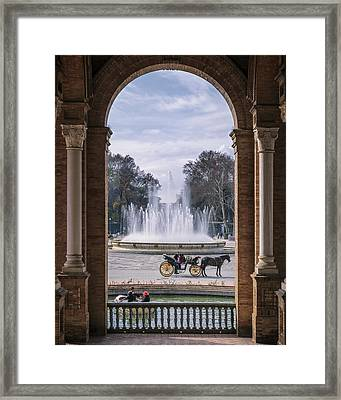 Rowboat, Fountain, Horse And Carriage Framed Print by Joan Carroll