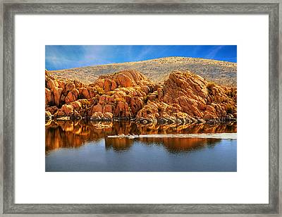 Rowboating In Peaceful Watson Lake - Arizona Framed Print