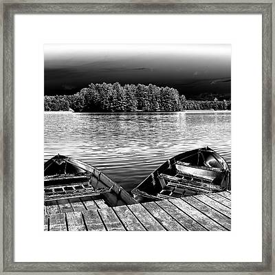 Framed Print featuring the photograph Rowboats At The Dock 4 by David Patterson