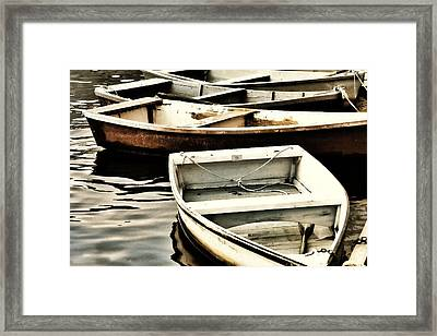 Rowboats In Maine Framed Print by Tony Grider