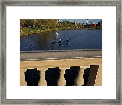 Rowinfg Towards The Weeks Bridge Charles River Harvard Square Cambridge Ma Framed Print by Toby McGuire
