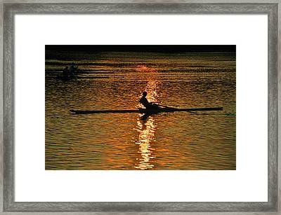 Rowing At Sunset 3 Framed Print by Bill Cannon