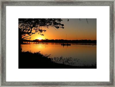 Framed Print featuring the photograph Rowing At Sunset  by Christy Pooschke
