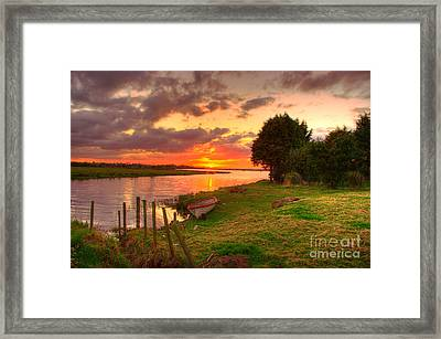 Rowing Boat At Bannfoot Loughneagh Framed Print by Kim Shatwell-Irishphotographer