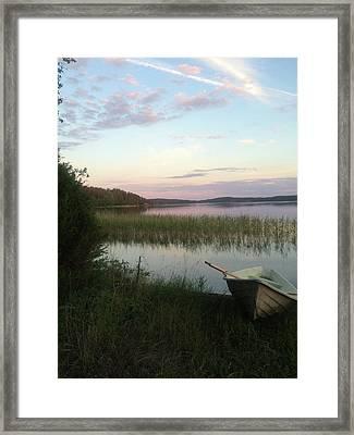 rowing boat on Lake Saimaa Framed Print