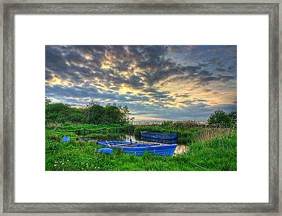 Rowing Boats At Day Framed Print by Kim Shatwell-Irishphotographer