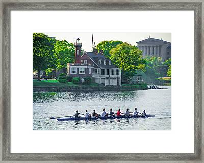 Framed Print featuring the photograph Rowing Crew In Philadelphia In The Spring by Bill Cannon